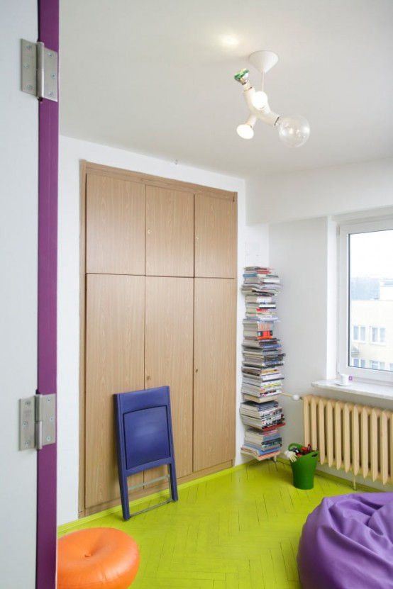 Colorful Cheerful Apartment Design And Purple Yellow Colors