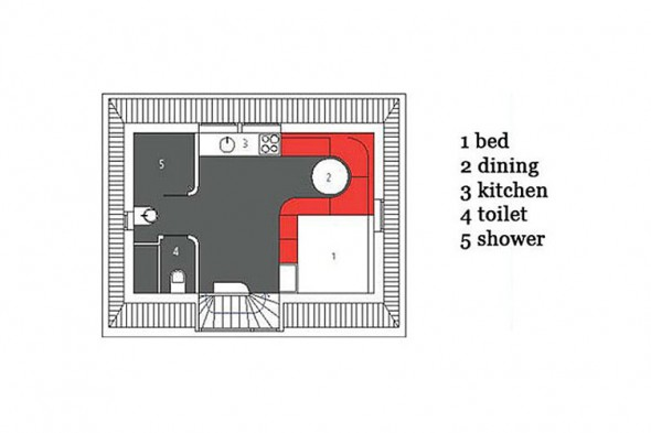 Maff Mini-Apartment in The Hague by Queeste Architecten-Plan