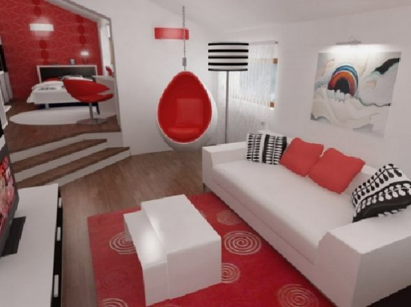 Red Studio Apartment Henri Matisse-White Sofa