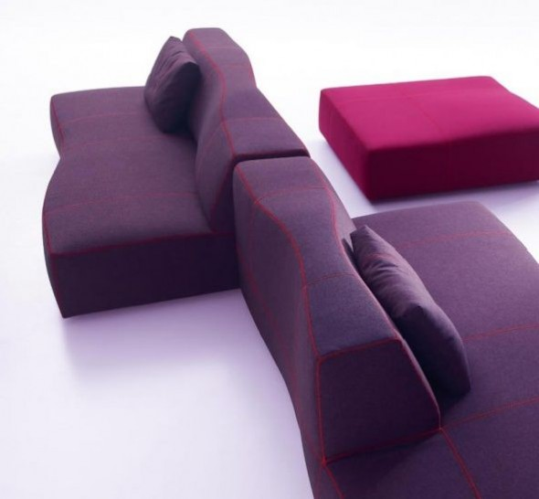 Sectional Sofas Furniture Design Bend Patricia Urquiola BB Italia Purple