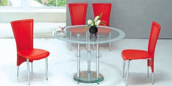 Simple Dining Room Design with Red and White Furniture