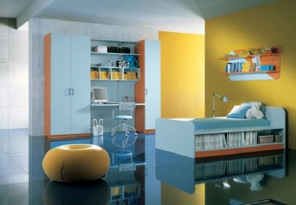 Teen Bedroom Design-blue clean