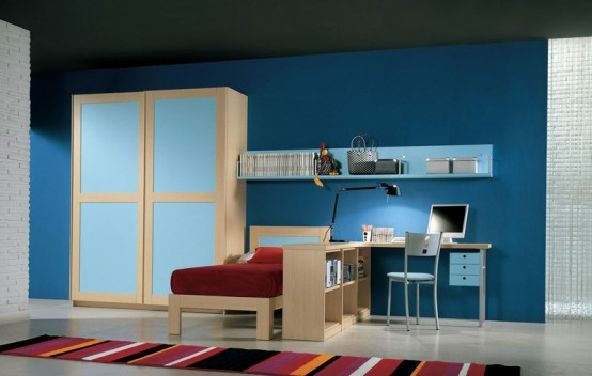 Teen Bedroom Design-blue walls