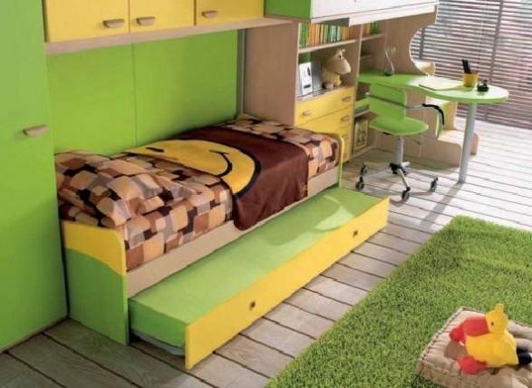 Teen Bedroom Design-green bed