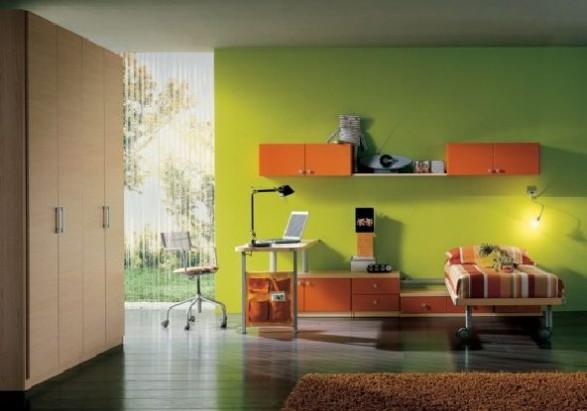 Teen Bedroom Design-green orange