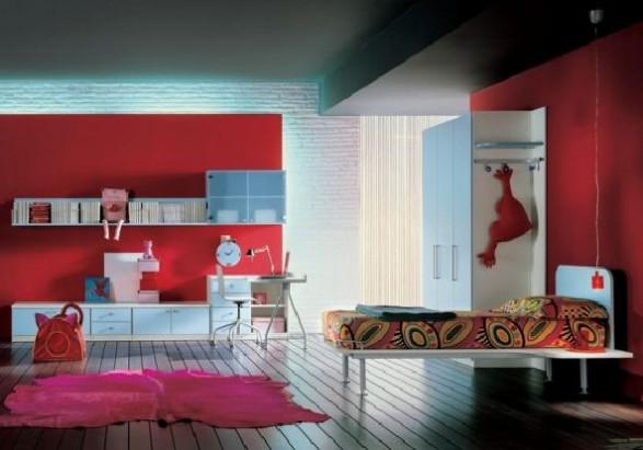 Teen Bedroom Design-Red