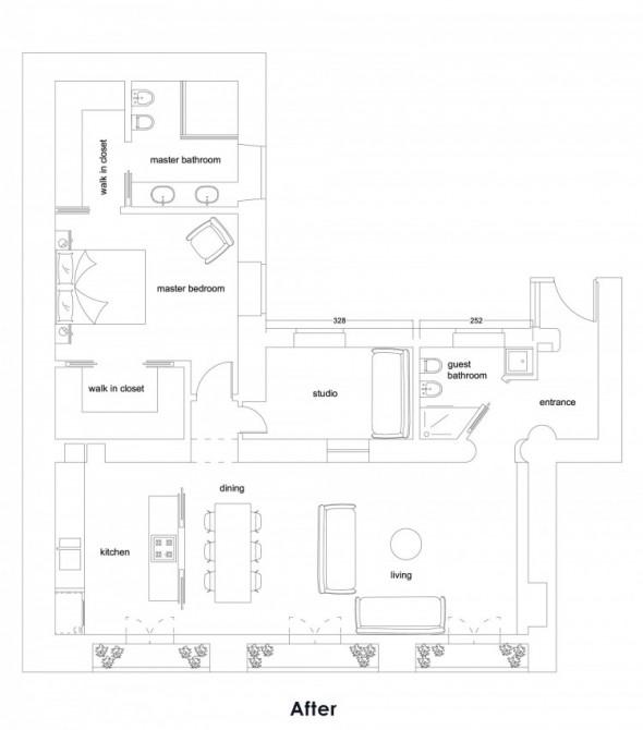 Trastevere Apartment by Carola Vannini-After Plan