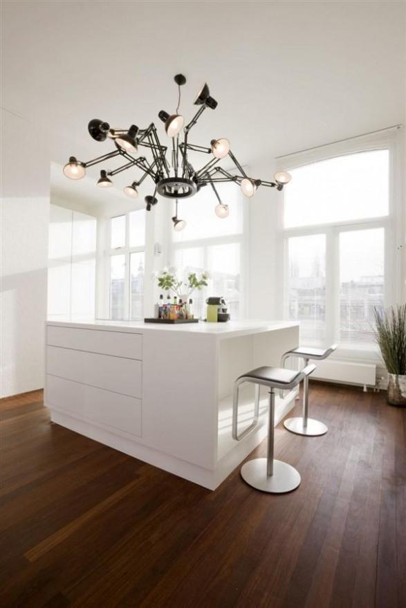 Wonderful Apartment Interior Design with amazing pendant lamp