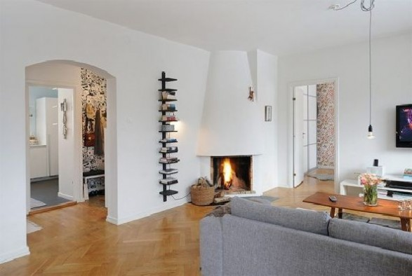 apartment with a real fireplace