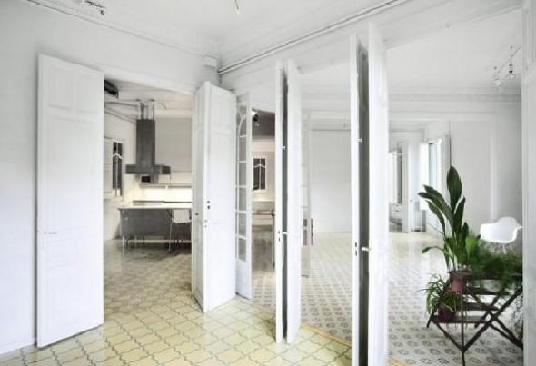 contemporary retro 160sqm apartment with white wall interior decor