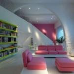 cute pink leather sofa apartment furniture