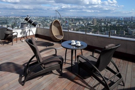 deck table luxury apartments in Moskow