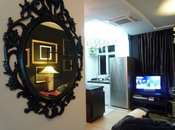 mirror in living room-Make Over Apartment