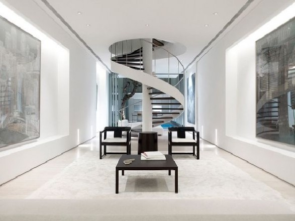 modern black and white spiral staircase