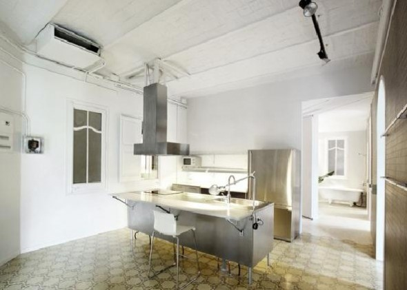 small apartment with retro kithen style furniture