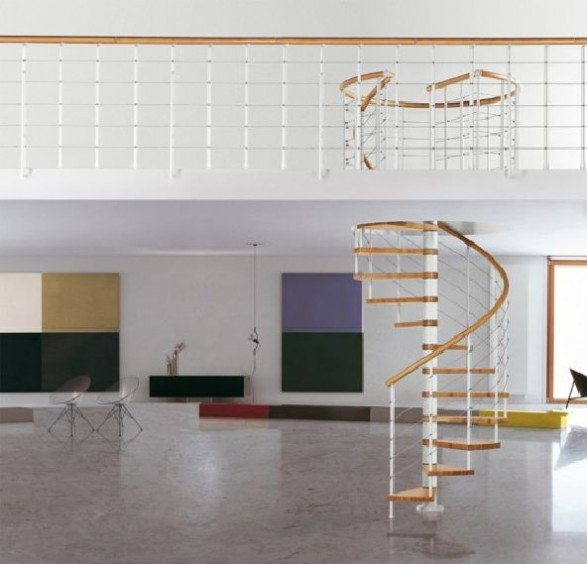 solid wooden handrail with steel balusters staircase