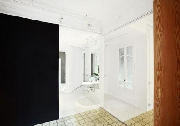 three tone color retro apartment bathroom interior design ideas