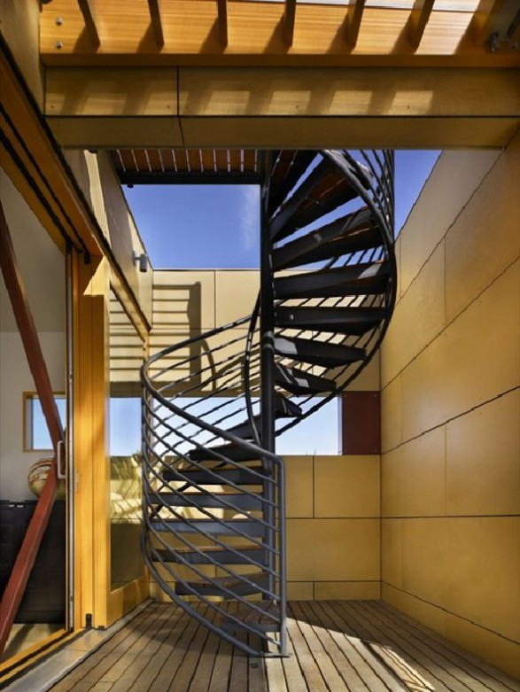 translucent stair tower knits black metal staircase