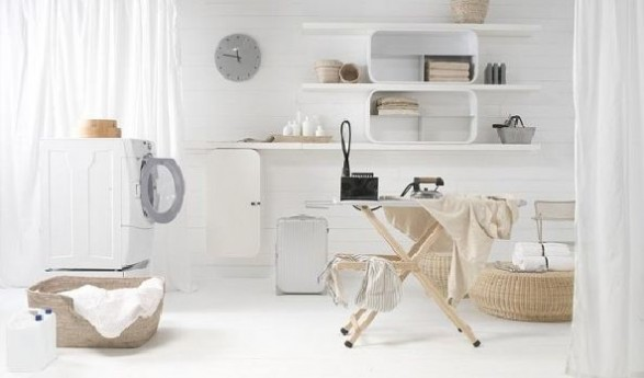 white curved Plywood Shelving System