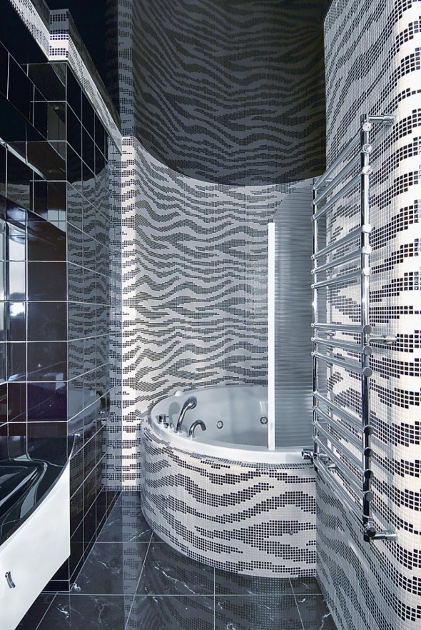 Bathtub at Futuristic Apartment Interior
