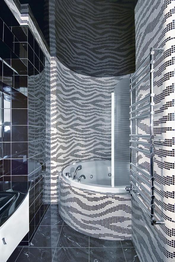 Bathtub at Futuristic Apartment Interior