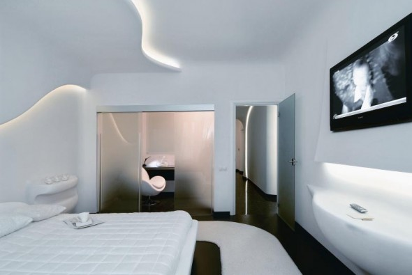 Bedroom at Futuristic Apartment Interior