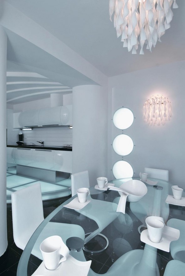 Dining Table at Futuristic Apartment Interior
