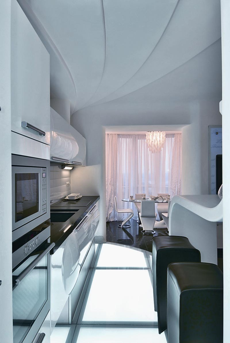Kitchen Set at Futuristic Apartment Interior