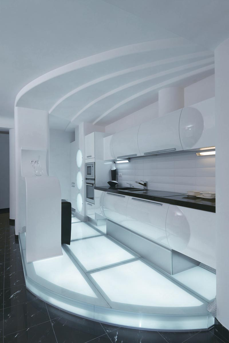 Kitchen at Futuristic Apartment Interior