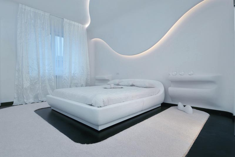Luxurious Bedroom at Futuristic Apartment Interior