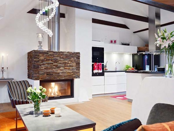 Modern Bright Apartment Home Decorating fireplace Design Ideas