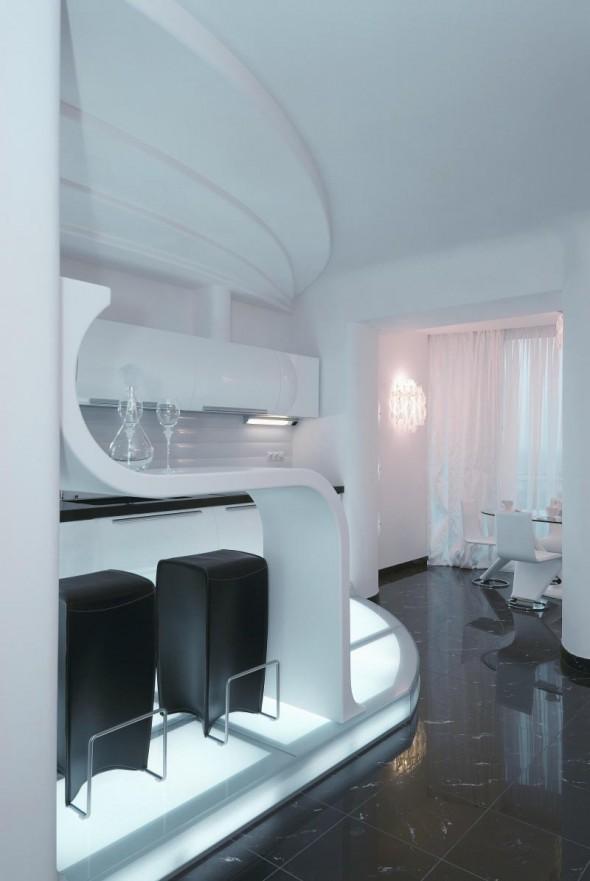 White Interior Design at Futuristic Apartment Interior
