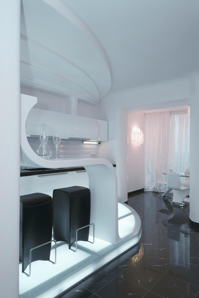 White Interior Design at Futuristic Apartment Interior