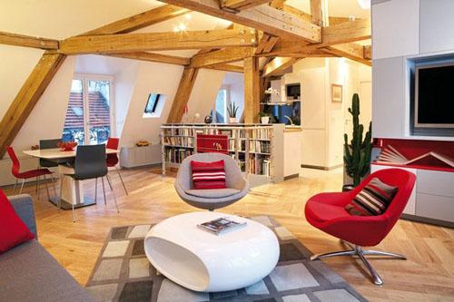 apartment red white unique furniture