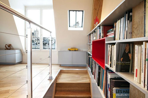 apartment stair near book storage space
