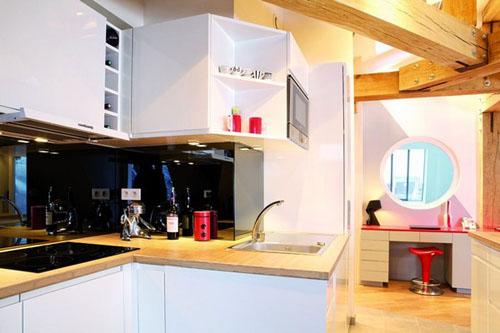 futuristic small kitchen apartment