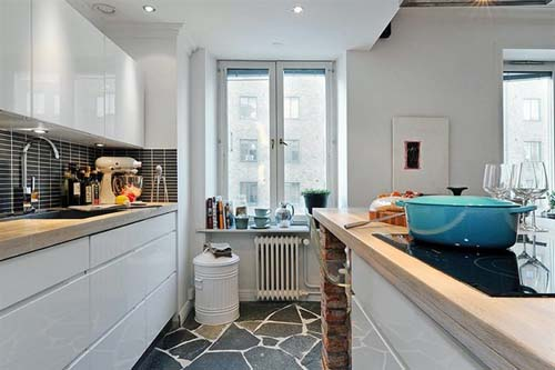 modern small kitchen white apartment
