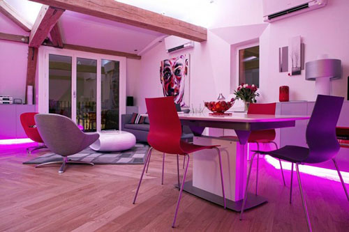 purple apartment interior lighting ideas