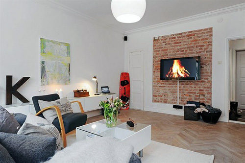 unique wall fireplace furniture idea scandinavian apartment