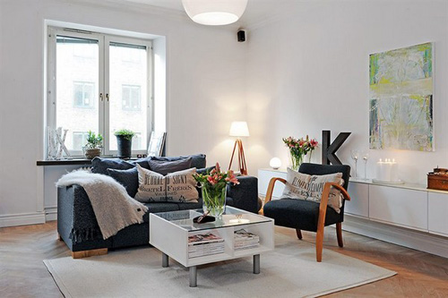 white color scandinavian apartment interior