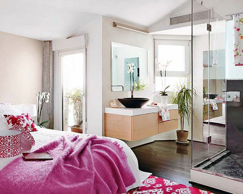 trendy pinky and white bedroom interior design Incredible Duplex Apartment Madrid