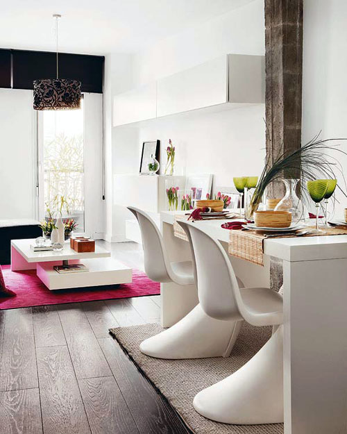 trendy pinky black and white Interior Incredible Duplex Apartment Madrid