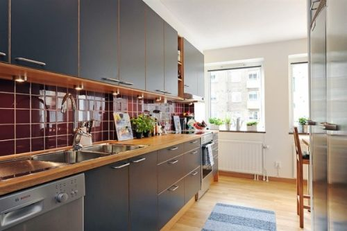 Kitchen room Swedish Apartment with North-European Interior Design Style
