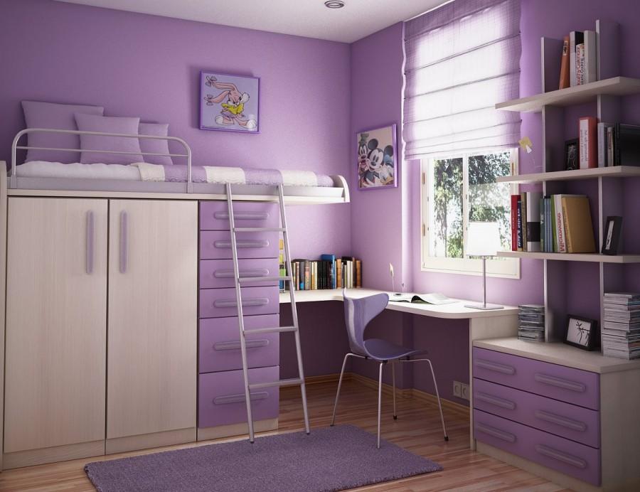 Teen Room-purple wall bedroom