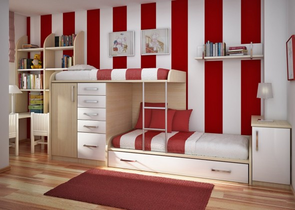 Teen Room-red and white wall