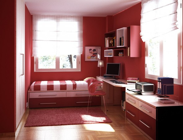 Teen Room-red bed room