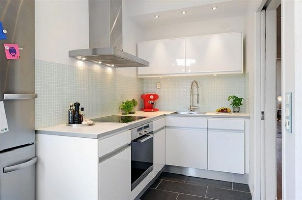 interior is simple and minimalist white kitchen with Vintage Elements and Extreme Space