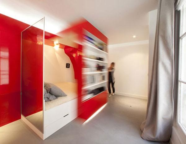 23 Square Meter Apartment in Paris called Red Nest Apt Interior03
