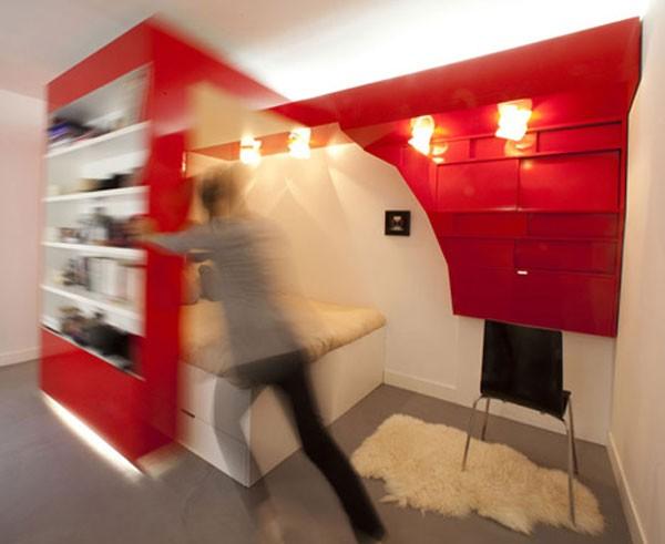 23 Square Meter Apartment in Paris called Red Nest Apt Interior04
