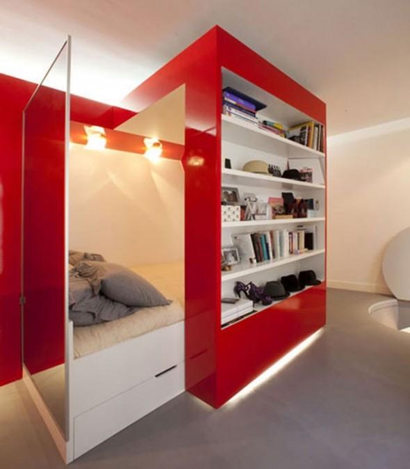 23 Square Meter Apartment in Paris called Red Nest Apt Interior06